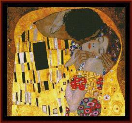the kiss - klimt cross stitch pattern by cross stitch collectibles
