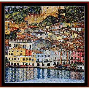 Malcesine am Gardasee - Klimt cross stitch pattern by Cross Stitch Collectibles | Crafting | Cross-Stitch | Wall Hangings