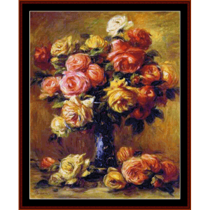 Vase of Roses - Renoir cross stitch pattern by Cross Stitch Collectibles | Crafting | Cross-Stitch | Wall Hangings