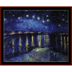 Starry Night Over the Rhone - Van Gogh cross stitch pattern by Cross Stitch Collectibles