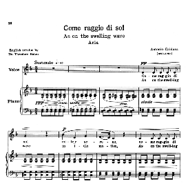 Come raggio di sol, Low Voice in D Minor, A.Caldara. Transposition for Low Voice. For Contralto/Bass. Source: Anthology of Italian Song of the 17th and 18th centuries (Parisotti), Vol.1, Schirmer (1894). | eBooks | Sheet Music