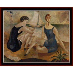 The Bathers, 1925 - Almada-Negreiros cross stitch pattern by Cross Stitch Collectibles | Crafting | Cross-Stitch | Wall Hangings