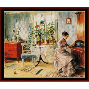 interior with woman reading - larsson  cross stitch pattern by cross stitch collectibles