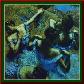 blue dancers - degas  cross stitch pattern by cross stitch collectibles