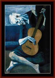 old guitarist - picasso cross stitch pattern by cross stitch collectibles