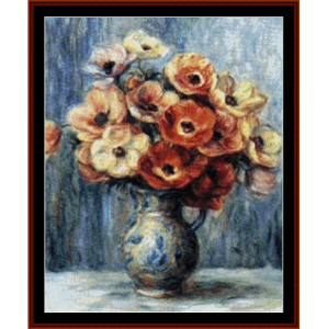 Vase of Anemones - Renoir cross stitch pattern by Cross Stitch Collectibles | Crafting | Cross-Stitch | Wall Hangings