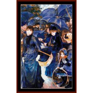 the umbrellas - renoir cross stitch pattern by cross stitch collectibles