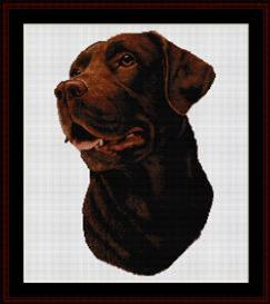 chocolate labrador - robert j. may cross stitch pattern by cross stitch collectibles