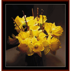 Vase of Daffodils - Floral cross stitch pattern by Cross Stitch Collectibles | Crafting | Cross-Stitch | Wall Hangings