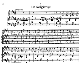 der neugierige d.795-6, high voice in b major, f. schubert (pet.)