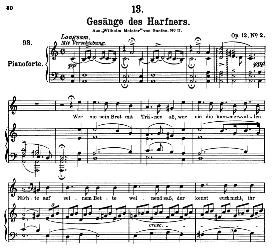 gesänge des harfners d.478-2, high voice in a minor, f. schubert (pet.)