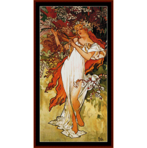 spring 1896 - mucha cross stitch pattern by cross stitch collectibles