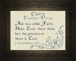 Name Blessings - Claire 2 | Crafting | Cross-Stitch | Religious