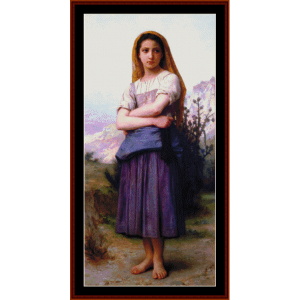 Young Shepherdess - Bouguereau cross stitch pattern by Cross Stitch Collectibles | Crafting | Cross-Stitch | Wall Hangings
