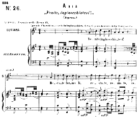 Venite, inginocchiatevi. (Soprano Aria). W.A.Mozart: Le Nozze di Figaro (The Marriage of Figaro), K. 492.  Vocal Score. Ed. Ricordi (PD) | Crafting | Knitting | Other