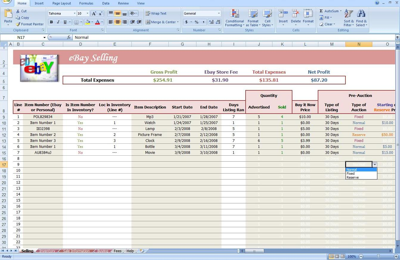 profit and loss excel sheet