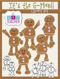 it's the g-man! gingerbread man clip art set