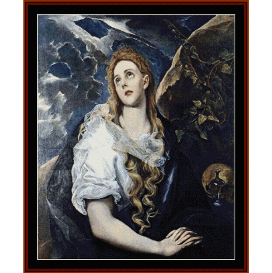 mary magdalene - el greco  cross stitch pattern by cross stitch collectibles