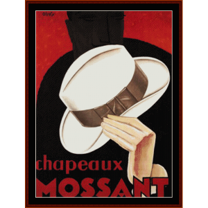 Chapeaux Mossant - Vintage Poster  cross stitch pattern by Cross Stitch Collectibles | Crafting | Cross-Stitch | Wall Hangings