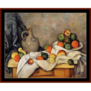 curtain jug and fruit - cezanne cross stitch pattern by cross stitch collectibles