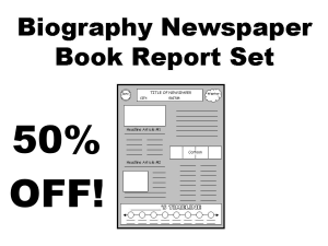 50% Off Biography Newspaper Book Report Projects | Documents and Forms | Templates