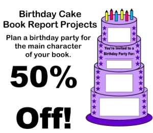 50% Off Birthday Cake Book Report Projects | Documents and Forms | Templates