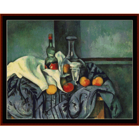 still life with peppermint bottle - cezanne  cross stitch pattern by cross stitch collectibles