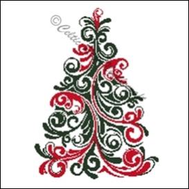 red & green christmas tree (large) cross stitch pattern