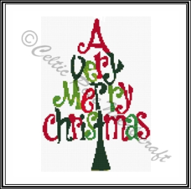 a very merry christmas tree cross stitch pattern