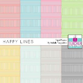 digital papers: happy lines set