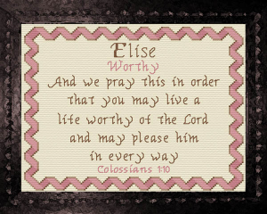 Name Blessings - Elise 2 | Crafting | Cross-Stitch | Religious