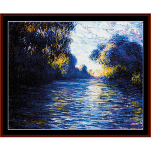 morning on the seine - monet cross stitch pattern by cross stitch collectibles