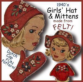 Make Girl's FELT CAP & MITTENS!  FUN Vintage Pattern! | eBooks | Arts and Crafts