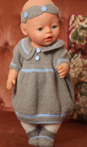 dollknittingpatterns - 0105d nora - dress, pants, hairband and socks