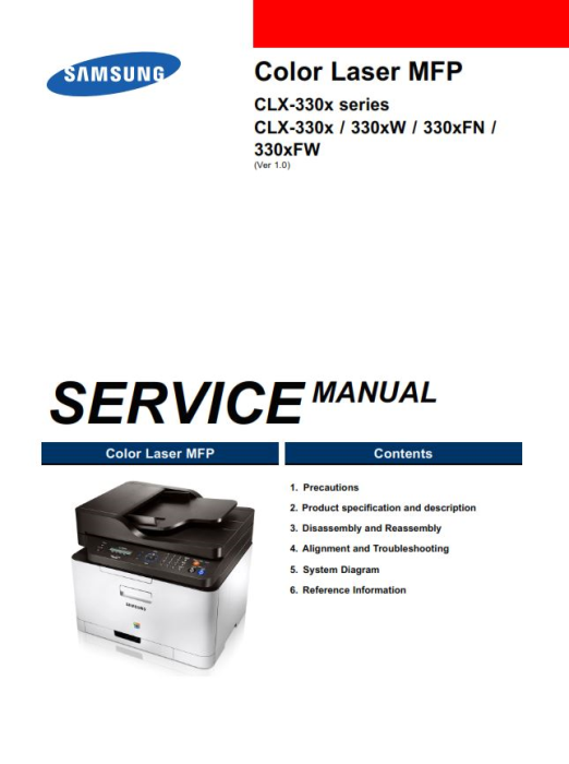 First Additional product image for - Samsung CLX-3305W Printer Service Manual Download