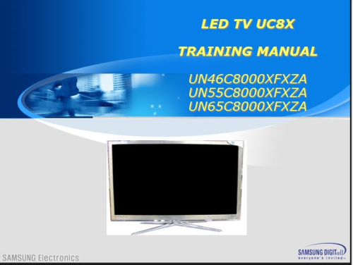 Second Additional product image for - Samsung UN65C8000XF UN55C8000XF UN46C8000XF LED TV Service Manual & Technical Training