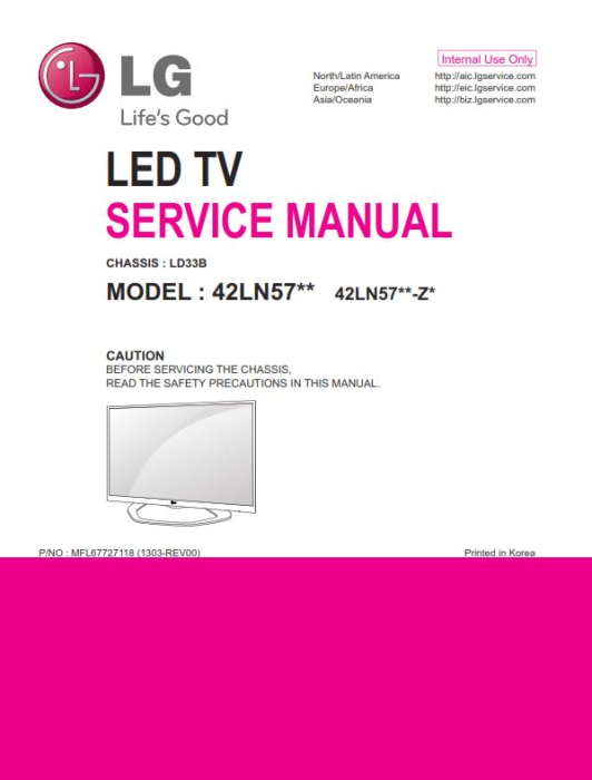 First Additional product image for - LG 42LN575S  TV Service Manual Download