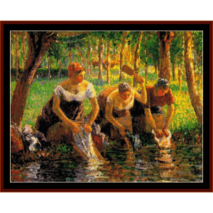 Washerwomen - Pissarro cross stitch pattern by Cross Stitch Collectibles | Crafting | Cross-Stitch | Wall Hangings