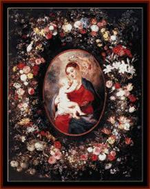 madonna and child - religious cross stitch pattern by cross stitch collectibles