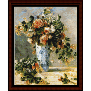 roses and jasmine - postersize - renoir cross stitch pattern by cross stitch collectibles