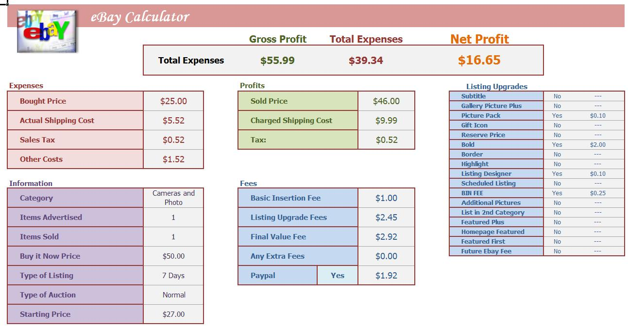 Ebay quick calculator excel spreadsheet profit analysis for Net price calculator template