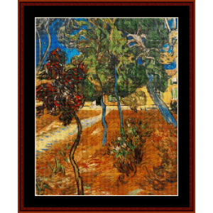 Trees in Asylum Garden - Van Gogh cross stitch pattern by Cross Stitch Collectibles | Crafting | Cross-Stitch | Wall Hangings