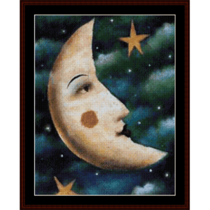 moon and stars - whimsical cross stitch pattern by cross stitch collectibles