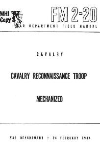 fm 2-20 cavalry reconnaissance teoop mecchanized 1944