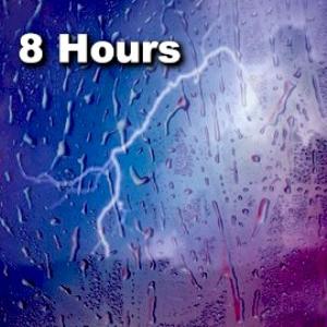 rain on a window with thunder - 8 hours