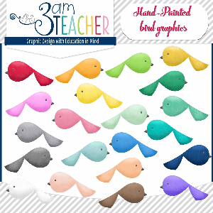 hand-painted dainty bird graphics / clipart by the 3am teacher