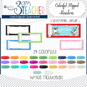 colorful ripped paper headers: clipart/graphics