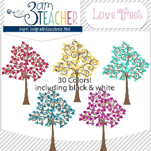 love trees digital clipart / graphics