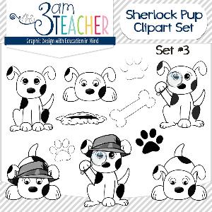 sherlock dog clip art set black and white set