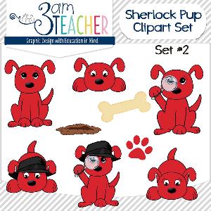 sherlock dog clip art set: #2 big red
